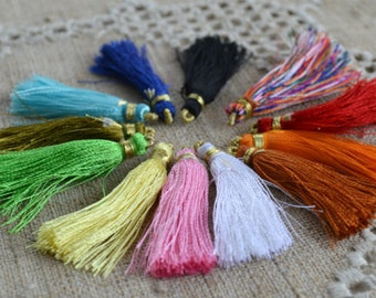 24pcs All Colors Tassel Charms Silk Imit Gold For Power Bracelets 1 3/4 inch
