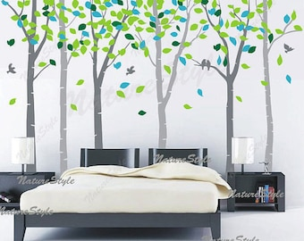 FREE SHIPPING -Birch tree wall decals nursery wall decal baby decal children vinyl bedroom decal - 6 Birch Trees with Colorful leaves
