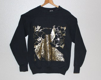 Vintage AIR WAVES Sweatshirt *Metallic Gold Foil Peacock Print *San  Francisco Souvenir -Women's