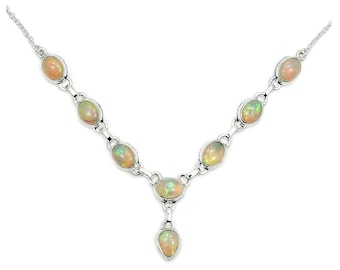 Fire Ethiopian Opal Necklace October Birthstone Necklace Jewelry Sterling Silver Y-shaped Necklace The Silver Plaza AD873 AD874