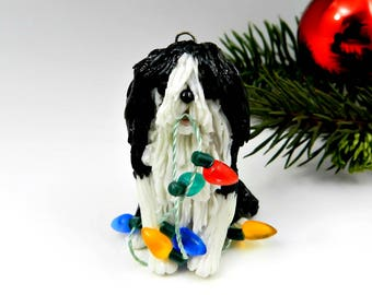 Tibetan Terrier Black White Christmas Ornament Figurine Lights Porcelain