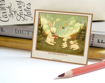 Personalized Bookplates - Customized Bookplate, Children's, Sticker, Label, Teacher, Librarian, Gift, Reader, Reading - The Bunny's Tale