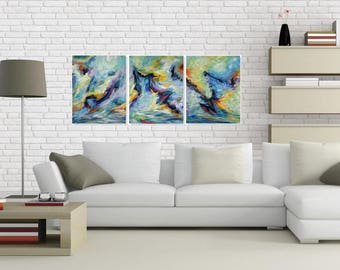 Original Abstract Painting, Colorful Wall Art Canvas, Modern Acrylic Painting, Contemporary Art,  Set of 3, Hand Made  Large Artwork 20x48
