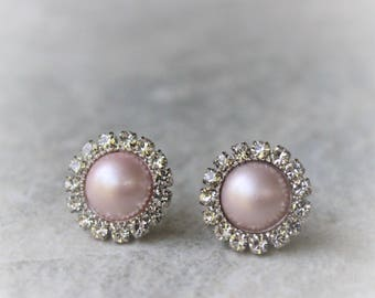 Blush Pink Earrings, Blush Bridesmaid Earrings, Blush Pink Wedding Jewelry, Blush Bridesmaid Jewelry, Blush Pink Pearl Earrings