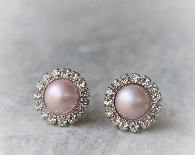 Blush Pink Earrings, Blush Bridesmaid Earrings, Blush Pink Wedding Jewelry, Blush Bridesmaid Jewelry, Blush Pink Pearl Earrings