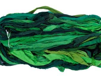 White House Silk  Premium Quality Green  Sari Silk Ribbon Yarn, Beautiful Handmade Sari Silk Yarn For Gift, Knitting, Crocheting, Weaving,