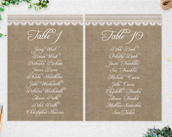 Editable Table Seating Chart // Printable // Wedding Template //INSTANT DOWNLOAD // 5x7 // burlap // lace // DIY // rustic