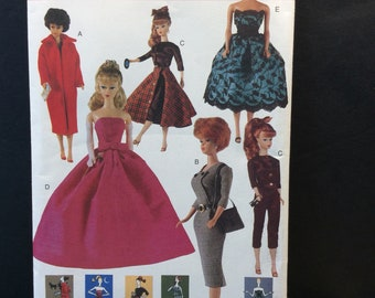 Vogue Craft Fashion Doll Sewing Pattern 7108 690 Vintage Style Clothes 11.5""