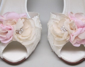 Ivory Wedding Shoes -- Ivory Satin Kitten Heels with Lace Overlay and Ivory and Pink Flower Adornment