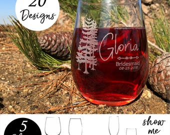 Woodland Wedding, Forest Wedding table decor, Pine Tree, Outdoor Wedding, Natural Wedding Decor, Wedding Glassware, Bridal Party Glasses