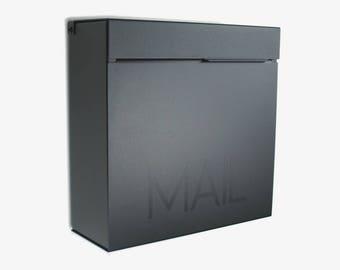 Black Medium  Modern MARTIN B mailbox, Modern Mailbox, Wall Mounted mailbox - contemporary #1212B