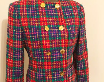 Vintage Carlisle wool blazer with gold buttons.