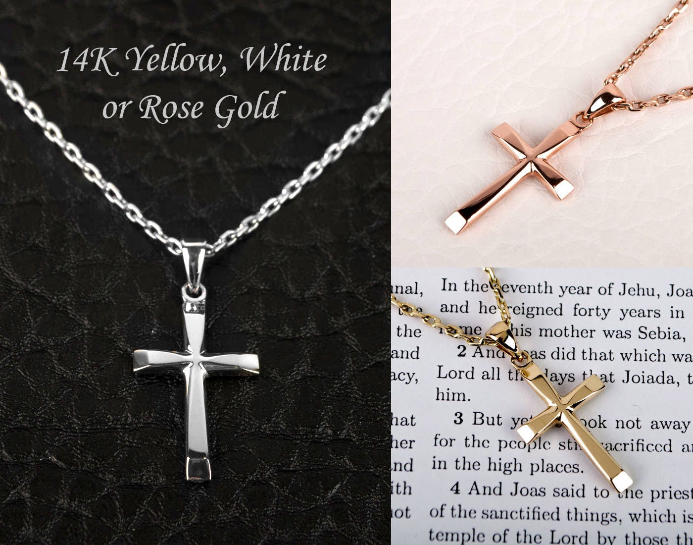 14K Rose Gold Cross Necklace 14K Solid Rose Gold Cross Pendant