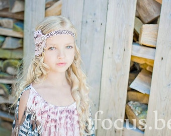 THE MORGAN-Pink & Brown Feather Headband
