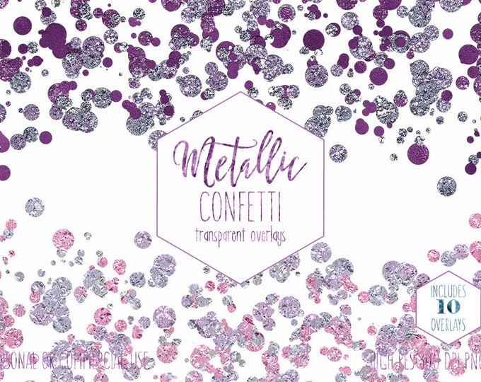 PURPLE CONFETTI BORDER Clipart for Commercial Use Clip Art Blush Pink & Burgundy Party Overlays Metallic Wedding Invitation Digital Graphics