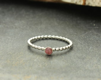 Pink Tourmaline Ring Sterling Silver Stacking Ring