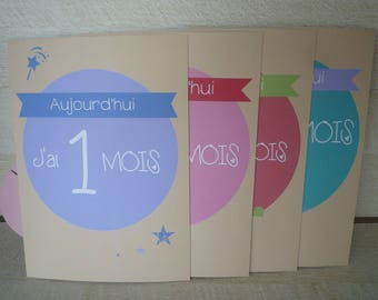 Cards memories month by month baby, gift of birth