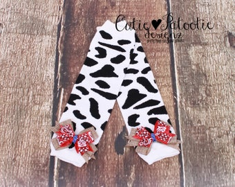 READY TO SHIP: Leg Warmers - White & Black - Cow Print with Burlap and Bandana Print Bows - Country Cutie - One Size