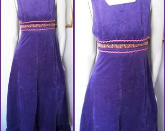 Vtg.70s Purple Pink Love Heart Corduroy Pinafore Maxi Dress.S.Waist 27.