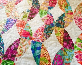 "Bee ""Bright"" Quilt - Metro Twist Design - Bright and Colorful - Full of Flowers - Lap Quilt - Fun, bold floral fabrics"
