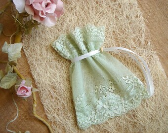 Mint  Favor Bags, Baby Shower Favor, Baby Christening Bags, Vintage Lace Favor Bags