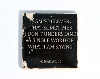 OSCAR WILDE Clever Quote Stone Coaster (1 Black and White Oscar Wilde Coaster) Black and White Home Decor
