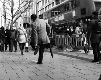 Black And White Photography, London Print, Oxford Street, Oxford Circus, Street Photography, Foot Print, City Print, Fine Art, Wall Decor