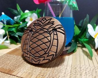 "Set of 4 , "" Pineapple Palms "" Tiki Coaster w/ Cork backing. bar coaster. tiki collection!"