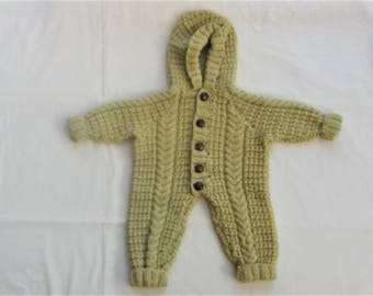 Winter Weight Baby Outfit, Cabled Baby All in One Suit, Hand Knitted Baby Cocoon, Baby Clothes, Baby Gift, Baby Shower Gift, New Baby Gift