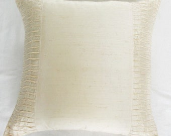 cream / ivory throw pillow  w/ dupioni silk pintuck detail-18X18 inche decorative cushion cover custom made