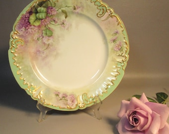 JP Pouyat Signed Limoges Charger Plate Gilded w/Hand Painted Lilacs c1912