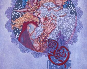 fantasy art print palu the cat goddess open edition