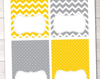 Printable Buffet Card Labels Instant Download Party Printables with Yellow & Gray Chevron Stripes and Polka Dots
