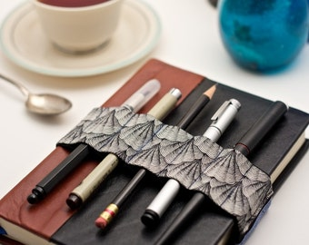 Journal Bandolier // black & white shells // (a better pencil case, journal pen holder, book strap, pen loop, pencil roll, pen bandolier)