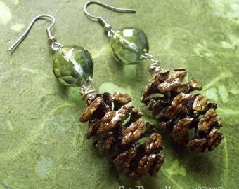Redwood Pinecone with Two-Tone Green Crystal Earrings #65-43