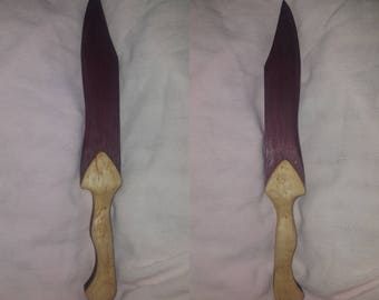 Purpleheart and birdseye maple knife.