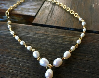 Gold Freshwater Pearl Choker