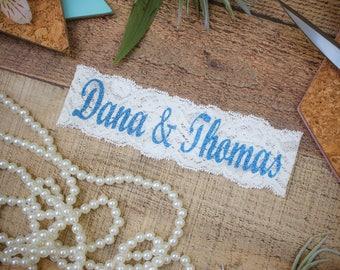 CUSTOME BLUE BLING Bridal Garter / Wedding Garter / lace garter / Something Blue
