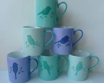 """birds"" hand painted porcelain mug"