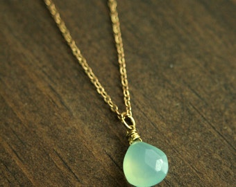 Long Layering Necklace with Aqua Blue Chalcedony, Brass Chain, Chalcedony Quartz Briolette, Long Statement Necklace