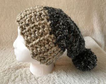 The Cabled Granite Slouchy Pom Pom Hat | Crochet with Gray and Cream Tweed Acrylic/Wool Blend Yarn | Super Soft, Cozy | Women | Adult Size