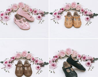 Toddler girls shoes - Genuine leather t-bar - t-strap - classic style hard sole - buckle - hand made - Mary Jane - vintage inspired - baby