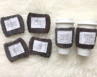 Rae Dunn Inspired Crochet Coffee Cup Sleeve . Reusable Coffee Sleeve  . Coffee Cup Sleeve . Coffee Lovers . Coffee is Cozy