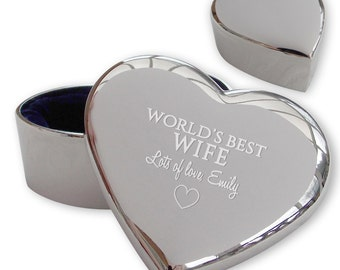Personalised engraved wife heart shaped TRINKET BOX gift idea, world's best  - FWB