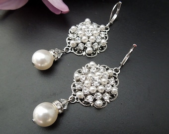 Bridal Pearl Earrings Chandelier Earrings ivory swarovski pearl Statement bridal earrings Pearl Bridal Earrings wedding earrings CIARA