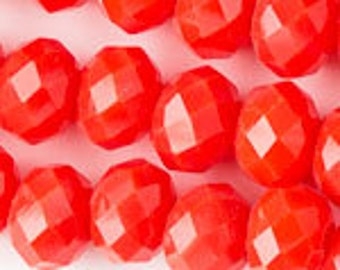Large-Hole 8x10mm Tangerine Opaque Crystals - (1 Strand)