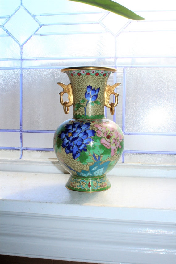 Vintage Chinese Cloisonne Vase with Stylized Bird Handles and Flowers