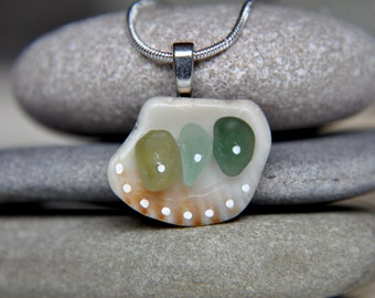 Sea glass necklace. Seashell necklace. Painted sea glass necklace. Painted seashell necklace. Sea glass jewelry. Seashell jewelry