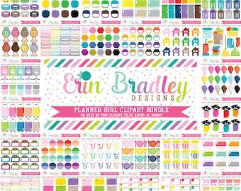 Planner Girl Clipart Bundle Set 2 - 40 Sets Personal & Commercial Use Clip Art Graphics