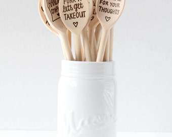 Conversation Wooden Spoons   Handwritten   Hand Lettered   Wood Burned   Wood Spoons
